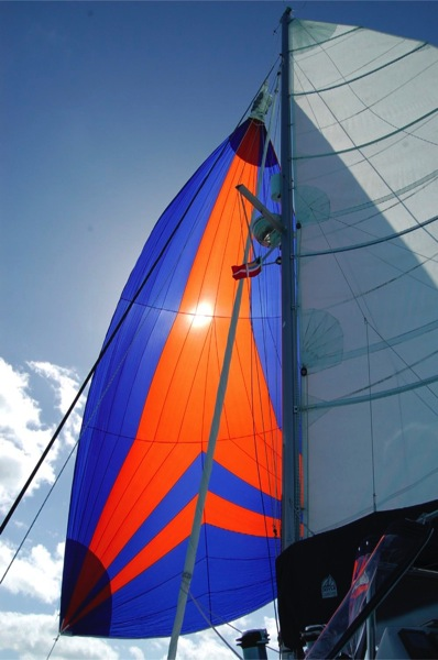 Spinaker deployed with main sail.