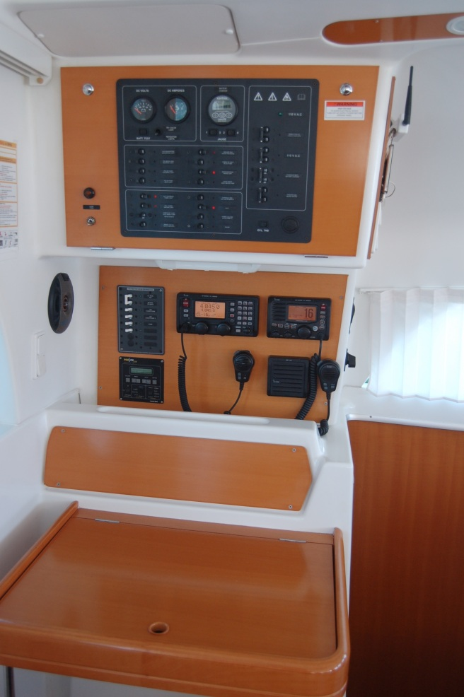 Nav station with SSB, VHF, Inverter/charger remote panel, and 120 volt AC circuit breaker.